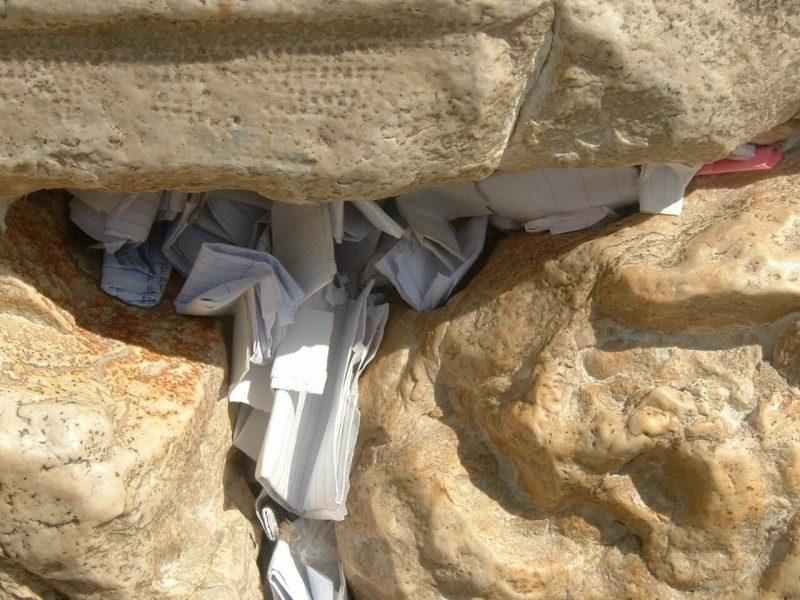 Notes tucked in the Western Wall Jerusalem